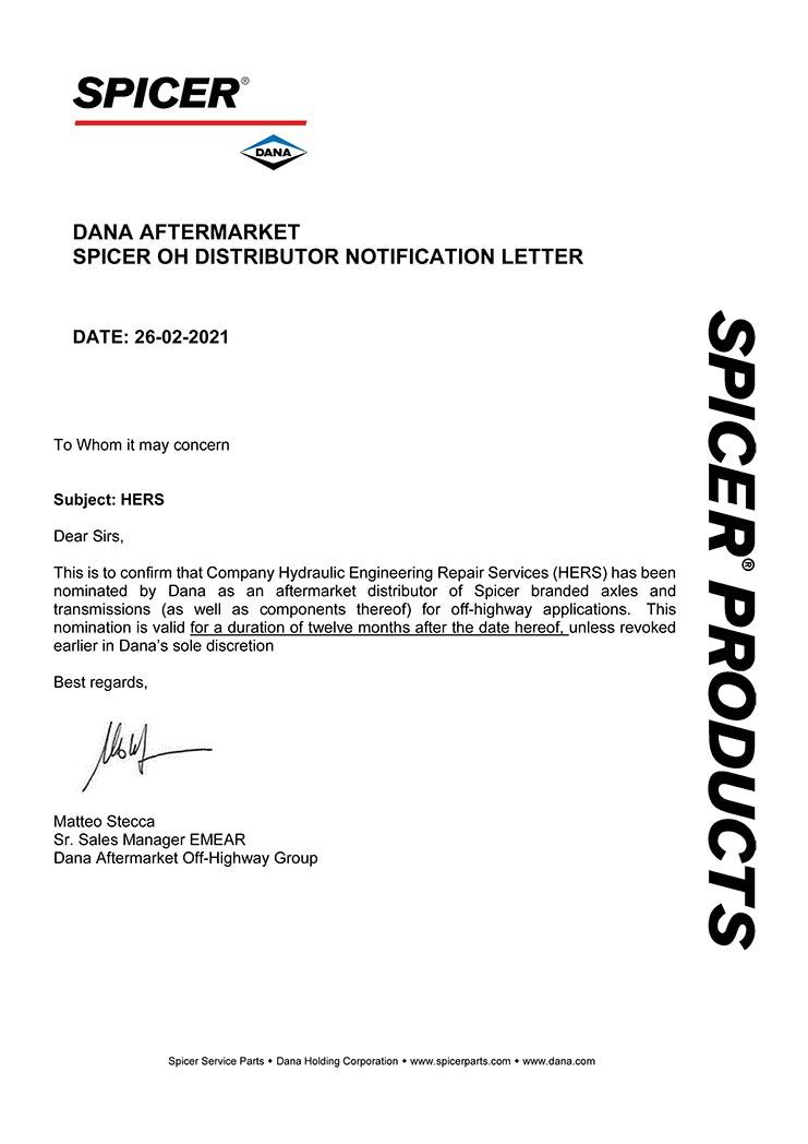 HERS - Dana Spicer Distributor Letter