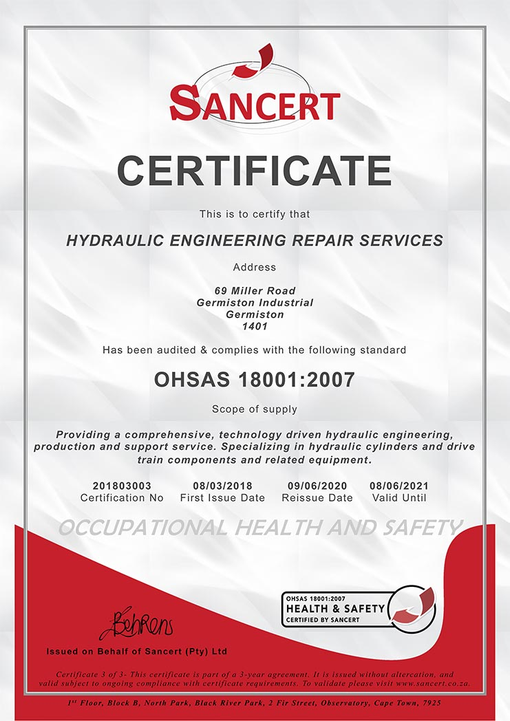 HERS - OHSAS 18001-2007 certificate